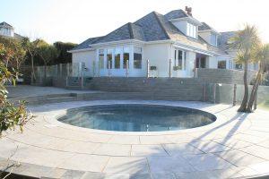 Broughton Limestone bespoke pool copings.