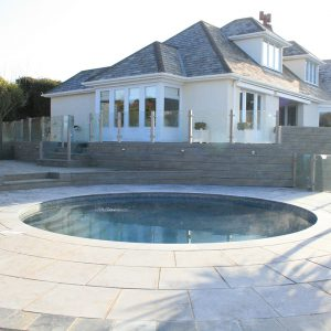 Broughton Limestone bespoke pool copings.