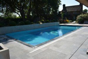 Broughton Sandblasted Limestone pool copings and surround