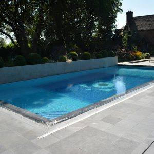 Broughton Sandblasted Limestone pool copings and surround