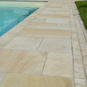 Cotswold Mint pool surround and copings.