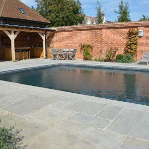 Georgina Antiqued Limestone paving and copings.