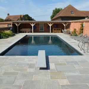 Georgian Grey Antiqued pool coping and surround.