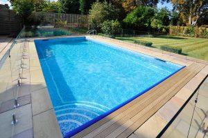 Raj Sandstone bullnosed pool coping.
