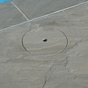 Skimmer lid made from Georgina Grey Antiqued Sandstone