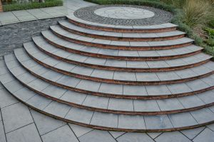 Farley Black Tumbled & Part Honed Limestone bespoke steps