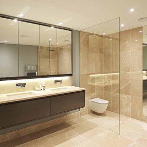 Bespoke bathroom vanity tops, wall and floor tiles in DeVere Marble.