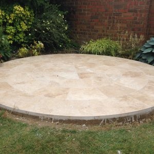 Bespoke circle from Travertine Tumbled and Unfilled