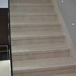 Crema Almera bespoke Step Treads with stair grip in-lays