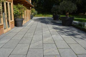 Farley Black Tumbled & Part Honed Limestone paving
