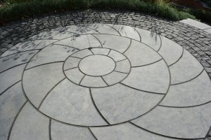 Farley Black Limestone bespoke patio feature.