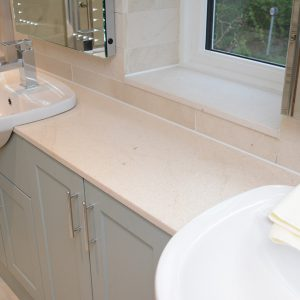 Crema Europa bespoke bathroom sink vanity top