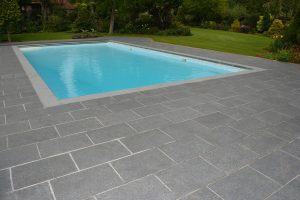 Chattis Black pool surround with Fullerton Grey copings