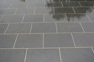 Chattis Black Basalt paving - wet