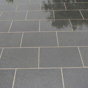 Chattis Black Basalt paving - wet