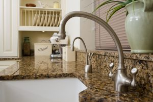 Granite kitchen worktop with sink cutout