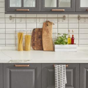 Marble worktop with mosaic splash back