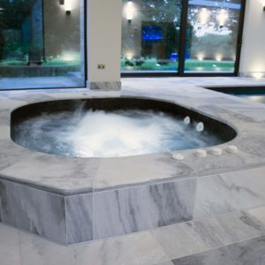 Indoor Spa with Pembury Marble  surround upstand