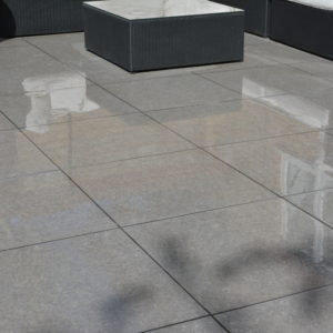 Namur Porcelain on patio when wet.