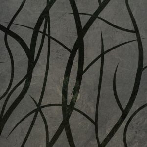 Wall art using stencil and sandblast on natural stone.