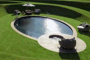 Sawn York Sandstone copings on award winning pool