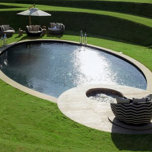 Sawn York Sandstone copings on award winning pool