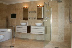 Travertine Honed & Filled floors and walls