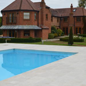 Travertine pool copings and surround