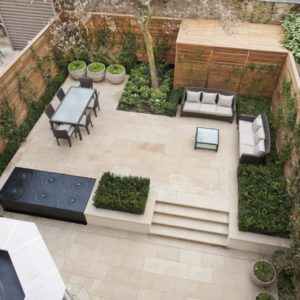 Leckford Sawn Sandstone garden patio paving and bespoke steps.