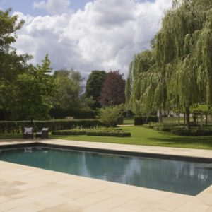 Leckford Sawn Sandstone paving with pool coping