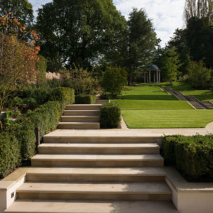 Leckford Sawn Sandstone, bespoke Step Treads with a Bullnose edge