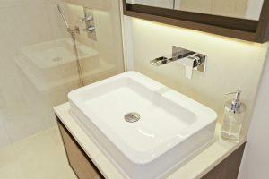 Crema Almera vanity top with splash back