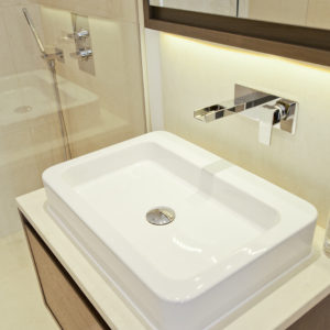 Crema Almera vanity top with splash back