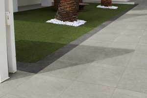 Bridport Grey Porcelain paving with Corfe Grey border strip