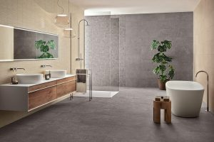 Cheriton Porcelain tiled bathroom