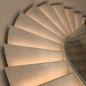 Moleanos Honed Limestone Spiral Staircase