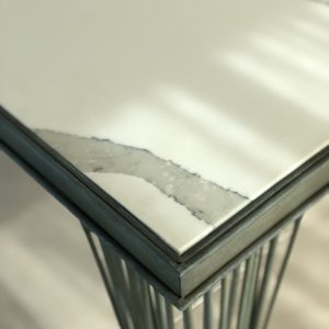 Statuario Quartz Tabletop close up