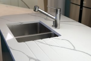 Statuario Quartz Kitchen Worktop Sink Close- up