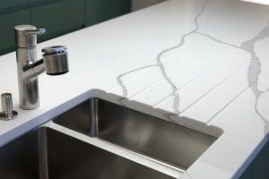 Statuario Quartz Kitchen Worktop- Sink