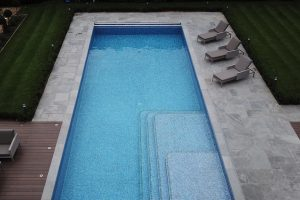Georgian Grey Antiqued Outdoor Swimming Pool surround.