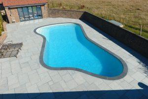 Trevose Black Bespoke Freeform Outdoor Pool Coping made to size.