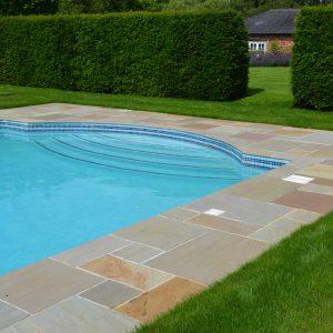 Raj Riven Sandstone pool terrace.