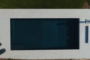 Wilton Beige Outdoor Swimming Pool - Bird's Eye View, Slip Resistant Porcelain pool terrace.