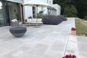 Fossil Pearl Satin Limestone Paving and terrace.